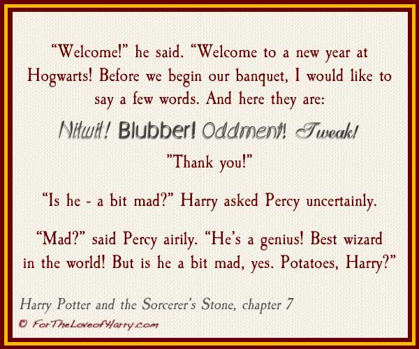 Example of Dumbledore's eccentricities