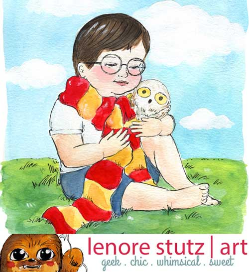Toddler Harry Potter and Hedwig