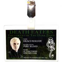 Draco Malfoy Death Eater ID Badge