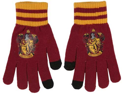 Touchscreen gloves available in Harry Potter Hogwarts House colors