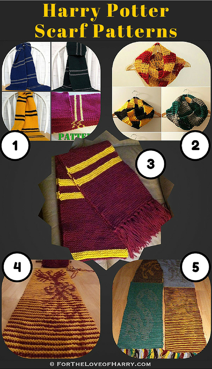 Examples of some of the patterns available for Harry Potter scarves