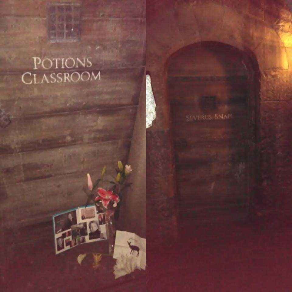 Memorial tributes at the front of Snape's door