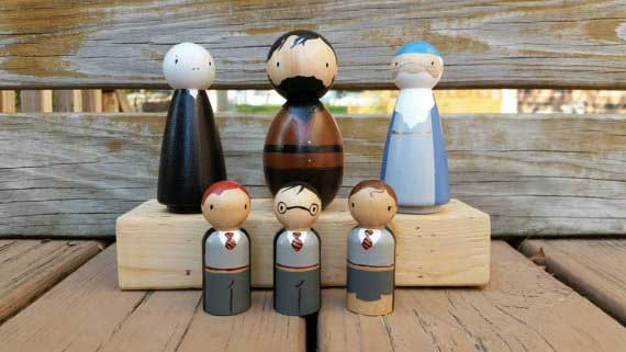 Collection of peg dolls based on Harry Potter characters