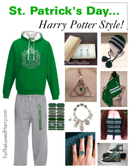 Green Slytherin clothing and accessories for dressing up on St. Patrick's Day