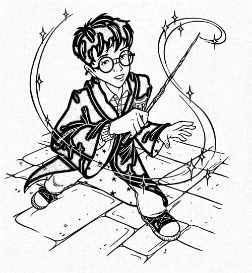 Harry Potter with his wand