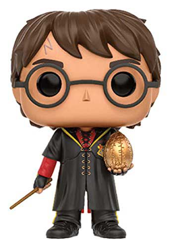 Harry Potter in his Triwizard Tournament robe holding the golden egg Funko Pop