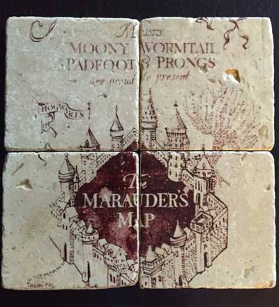 Coasters inspired by Harry Potter and the Marauders Map