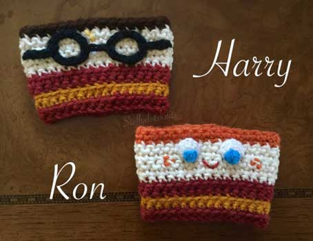 Mug and cup cozies inspired by Harry Potter and Ron Weasley