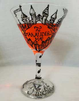 Martini glass inspired by Harry Potter and the Marauders Map