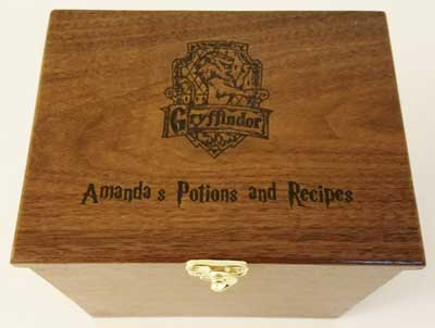 Custom made recipe box inspired by Harry Potter