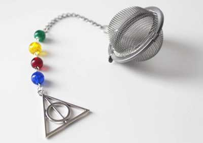Tea infuser for loose tea leaves inspired by Harry Potter and the Deathly Hallows symbol