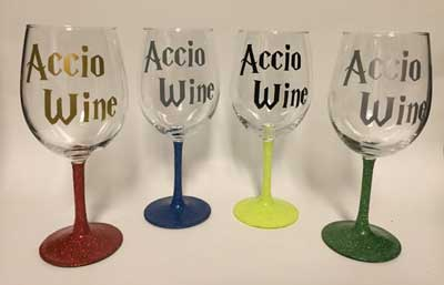 Wine glasses inspired by Harry Potter