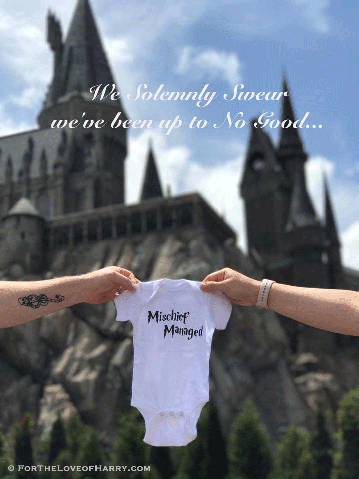 Using Hogwarts Castle as a background is a wonderful way to announce a pregnancy and show your love of Harry Potter!