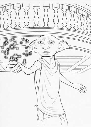 Harry Potter Coloring Pages Dobby The House